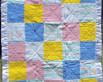 "Yellow pink blue white 1-2-3 ""upcycled"" Baby quilt"