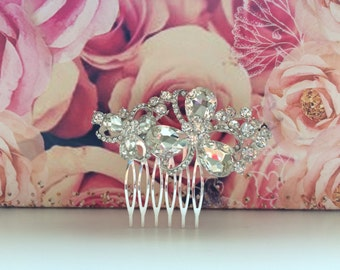 "Bridal ""Taylor"" comb hair accessory silver with rhinestone and pearl detailing"