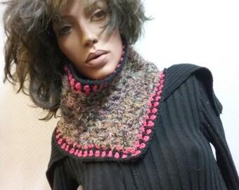 Neck warmer Schlupfschal collar material mix unique crochet handmade