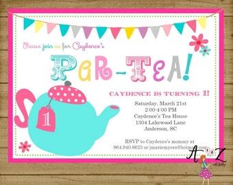 Tea Party Birthday Invitation, Tea Party Invitation, Tea Par-tea Birthday, Tea Party Birthday Party, Pink Invitation, Printable
