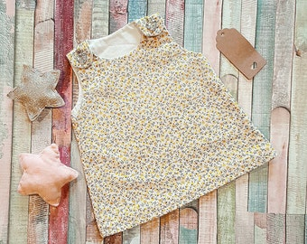 Newborn baby vintage style pinafore dress ditsy floral