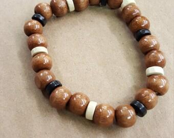 Handmade wooden bead bracelet