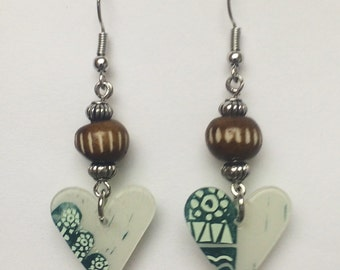 Upcycled Card Earrings - Bohemian Hearts