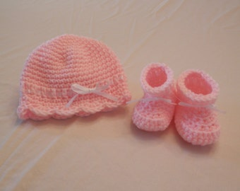 Crochet Baby Booties and Hat, Girls Baby Booties and Hat, Girls Crochet Booties, Baby Gift, Baby Shower Gift, Pink and White