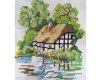 Finished Handmade Cross Stitch ' dreamy cottage' for home decor or impressive gift