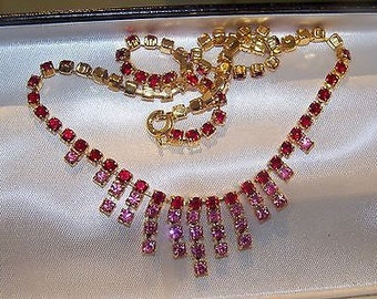Lovely Vintage Necklace Fully Articulated with Pink & Ruby Rhinestones