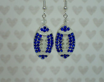 Indianapolis Colts Inspired Blue Football Rhinestone Earrings