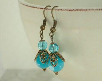 Blue Glass Swarovski Crystal Brass Earrings