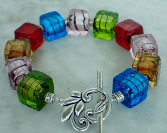 Murano Glass Cube Beaded Bracelet 7""