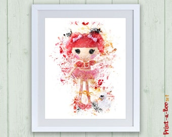 Lalaloopsy printable watercolor nursery wall art, Lalaloopsy print, instant download, Lalaloopsy poster, Lalaloopsy doll nursery decor