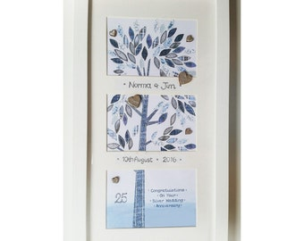 Framed Wishes Anniversary Silver Patchwork Tree