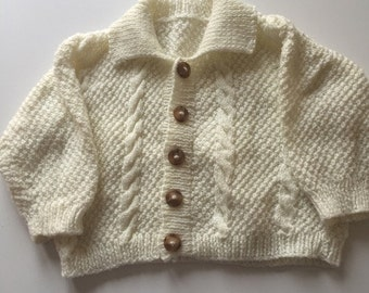 Hand Knitted Cream Baby Jacket
