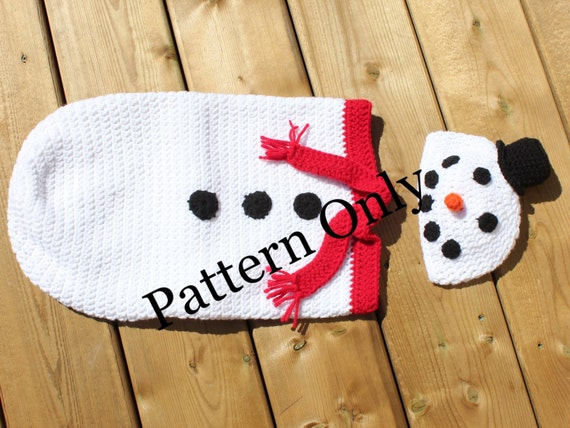 Snowman Cocoon with Hat Crochet Pattern Newborn Snowman