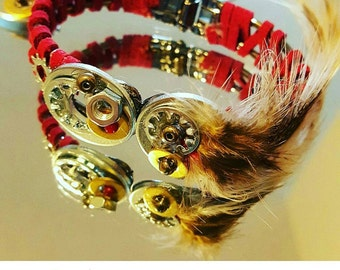 Feathers and hardware bracelet