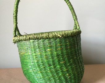 Lime Green Soft Basket with Handle Gift Basket