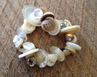 Ivory Vintage Button Bracelet