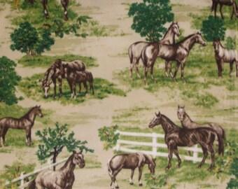Horse Farm Fabric...Horses in Field Fleece Fabric.