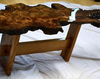 Live Edge Alabama Oak Burl Wood Coffee Table