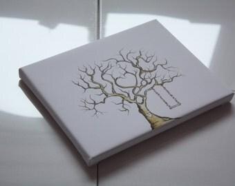 Personalised family tree fingerprint thumbprint keepsake grandchildren gift wedding guestbook canvas