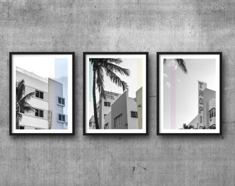 triptych, printable art, instant download, black and white photography, home decor, wall art, 8x10 print, art deco, south beach, miami,