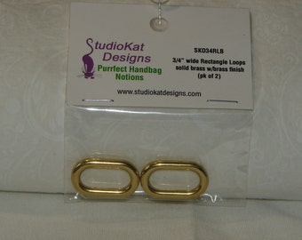 "StudioKat 3/4"" Loops & 2"" Snap Hook Purse Notions Brass or Nickle Finish"