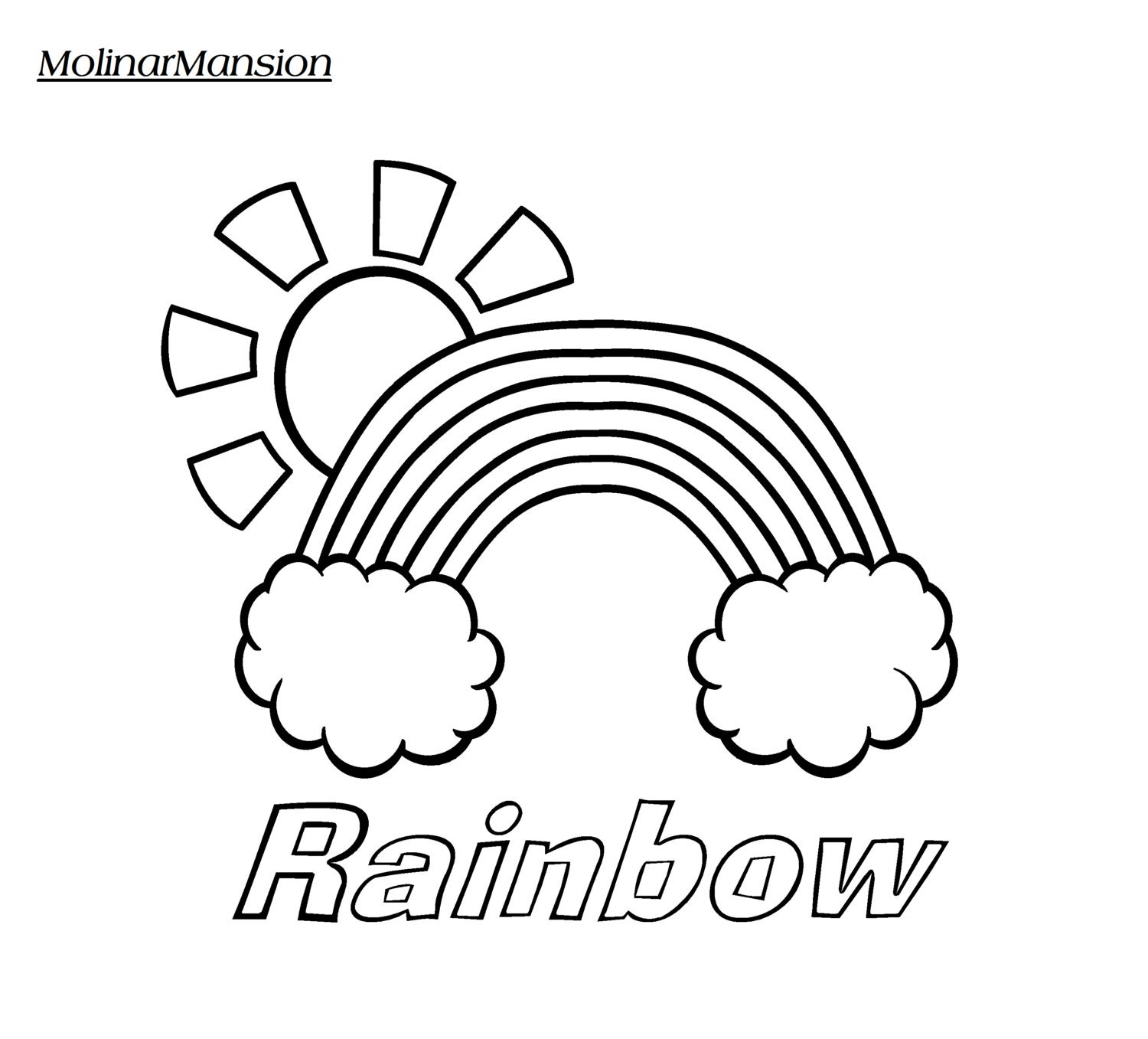 rainbow in clouds with sun coloring page by molinarmansion on etsy