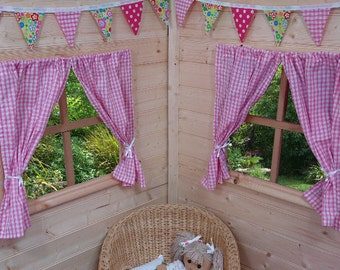 Pink Gingham Playhouse Curtains