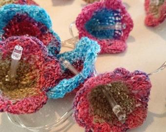 blue, pink, jade crochet flower  battery operated string lights, fairy lights
