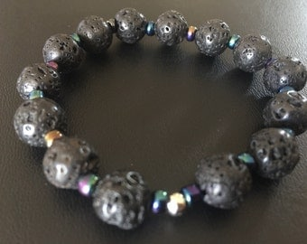 Lava rock Bracelet with colorful spacers