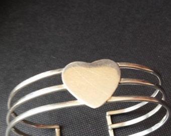 Sterling silver heart cuff bracelet vintage