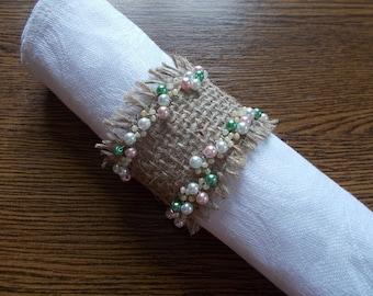 4 Burlap napkin rings, Burlap Napkin Ring Holder, Wedding Napkin Holder, beaded napkin rings rustic wedding, napkin rings