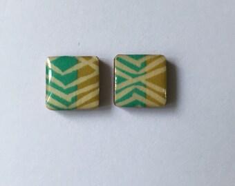 12mm Square Tribal Glossy Stud Earrings