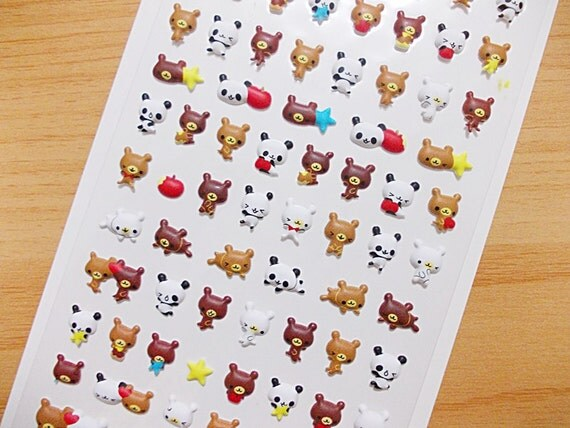 Tiny Cute Bears Puffy Sticker Raised Surface Vinyl Sticker