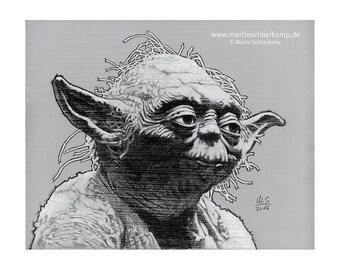 Star Wars Episode 5 Yoda - Sketch Drawing Zeichnung - Original