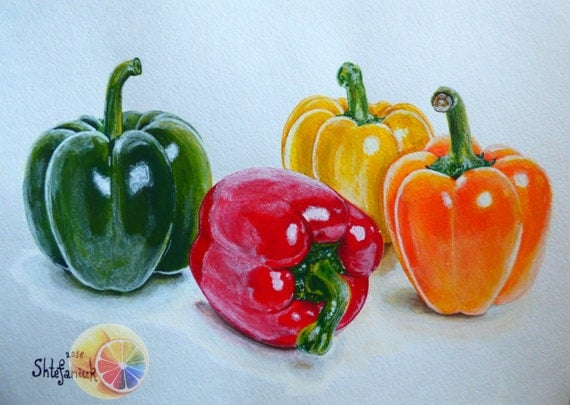 Bell Peppers Painting Sweet Peppers 8x11acrylic