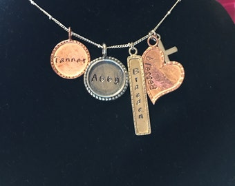 Necklace with stamped names