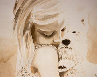 true love, original watercolor painting, 40x30 cm