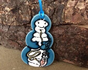 Handmade ceramic Caterpillar decoration/ gift tag
