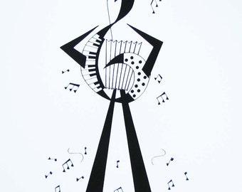 Accordion Player Print