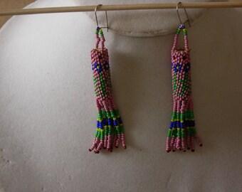 Native American Gourd Stitch Beaded Earrings