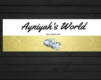 Pre Made Blog Banner Black & White, Gold Glitter/Diamond Banner or Blog Header