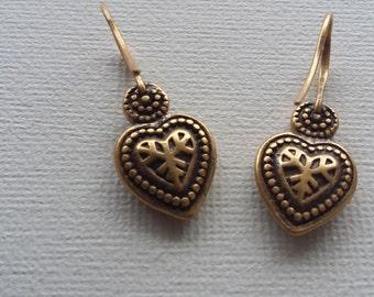 Gorgeous Vintage Hultquist Copenhagen Gold  Plated Heart Earrings