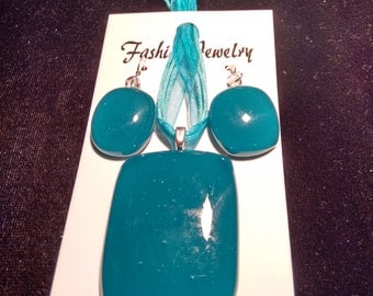 Blue Pendent and Earring Set