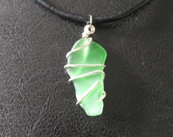 Green Beach Glass Pendant Necklace with Leather Cord: Small Size
