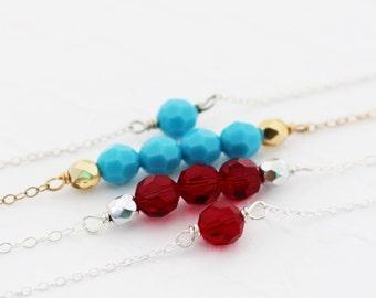 Birthstone Bar Bracelet, Birthstone Bracelet for Mom, Dainty Bar Bracelet, Beaded Bar Bracelet, Turquoise Bar Bracelet Delicate Bar Bracelet