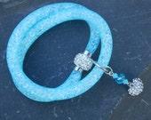 Blue Ice Crystal Mesh Necklace Heart Choker Necklace Wrap Bracelet Blue Choker Necklace Magnetic clasp Rhinestone Heart Summer Jewelry