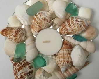 Sea glass & shell candle