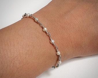 Pearl Bead Chain Bracelet-Small Pearl - Sterling Silver - Pearl Bracelet - June Birthstone - Dainty Bracelet - Hand Wrapped Bracelet