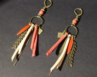 Long earrings red and bronze