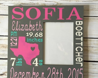 SALE***Custom Birth Announcement Subway Art Picture Frame, Baby Room, Custom Birth Announcement, Baby Shower gift